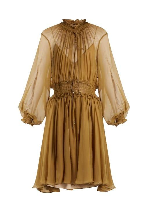 4cfd66abb Chloé Ruffle Trimmed Smocked Silk Dress AED6,182 / SAR6,311  matchesfashion.com
